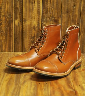 Cognac Calf Cap-Toe  Trench Boot